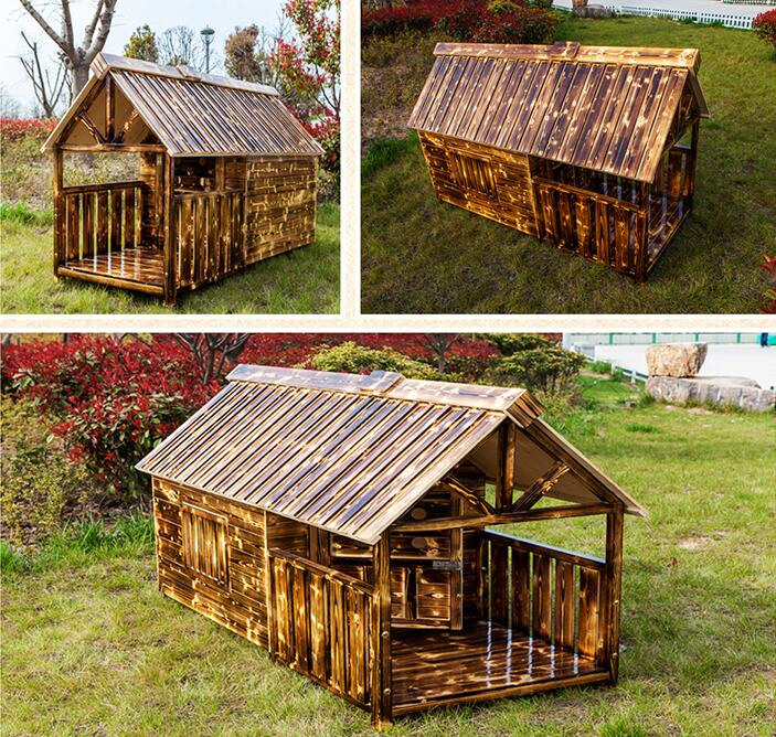 Carbon Solid Wood Dog Kennel, Rainproof Antiseptic Dog House