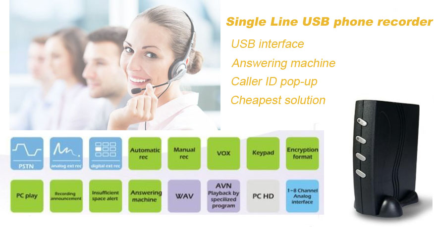 USB telephone recorder ,one computer max manage 4PCS by one SW , answering machine, second development version, free SDK and API