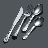 Party wedding flatware/popular silver coated flatware disposable plastic cutlery/Fasion Design Silver Coated Plastic cutlery set