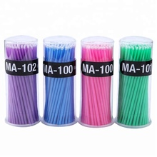 Colorful disposable plastic handle medical dental eyelash extensions applicator cotton swab