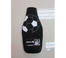 Black Neoprene Bottle Cooler With Plastic Clip