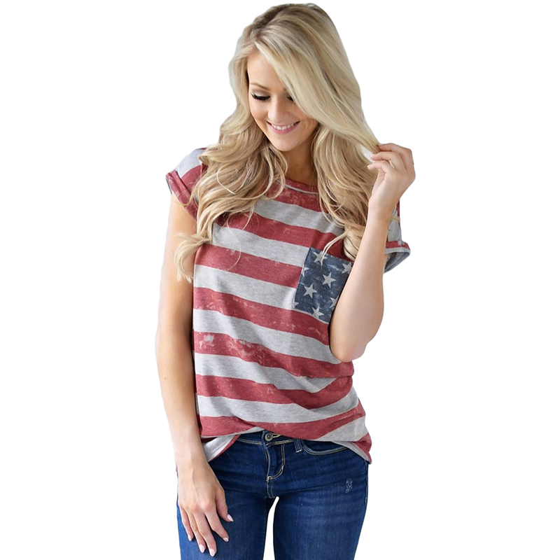 Wholesale Women The United States Flag Print Contton T Shirt