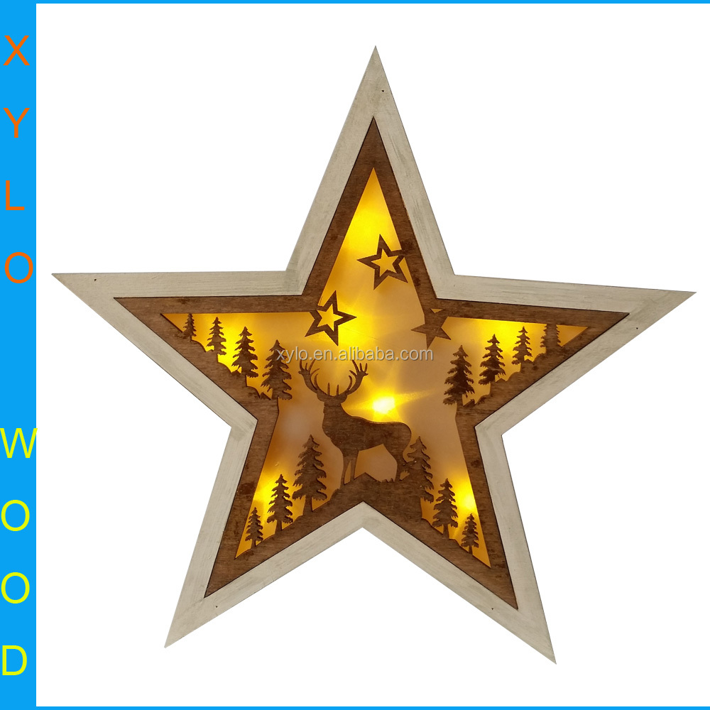 Twinkle Twinkle Little Star,Wooden Star Shaped Led Light Christmas Decoration