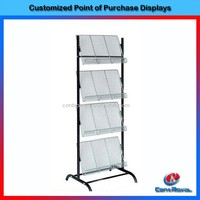 4-tier book and magazine floor stand metal display furniture