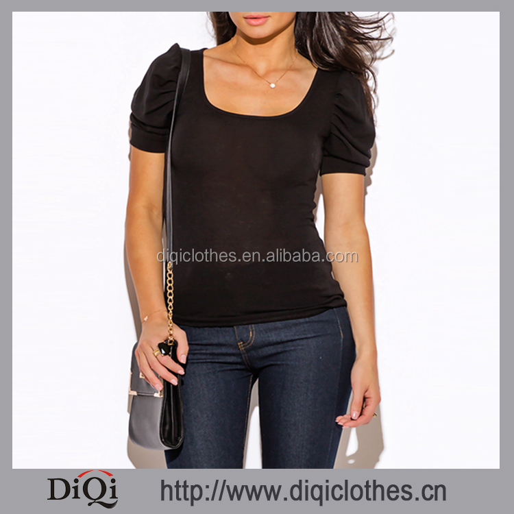 New Fashion Women Blouse Wholesale Black Bubble Sleeve Round Neck Short Sleeve Sweater Knit Top
