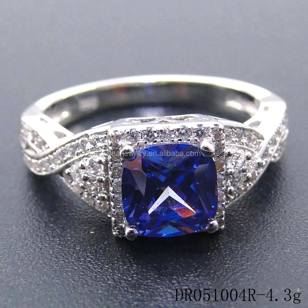 Sterling Sliver Jewelry,Blue CZ Stone Ring ,New Design Fashion Ring For Girls