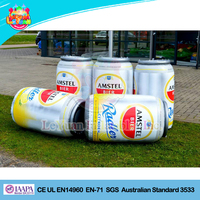 Attractive outdoor display giant inflatable beer bottle,can and holder