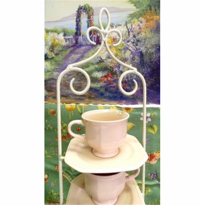 UPRIGHT 4 TIER IRON PORCELAIN TEA CUP AND SAUCER DISPLAY STAND