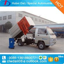 4x2 LHD dongfeng FRK rubish collector mini sealed garbage truck for sale with side trash can