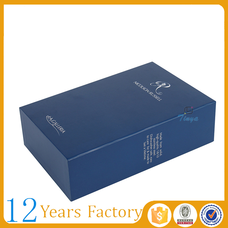 blue empty gift cardboard slide box
