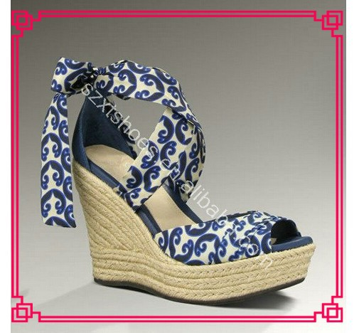 Royal blue and white dress shoe wedge shoes 2013 for ladies high quality wedges shoes for weddings