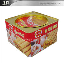 Promotional Printed Square Egg Roll Biscuit Packing Tin Box