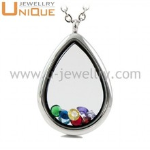 2015 fashion teardrop shaped floating glass lockets wholesale, living pendant
