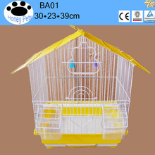 BA01 powder coated metal rattan bird cages cages with outside feeder