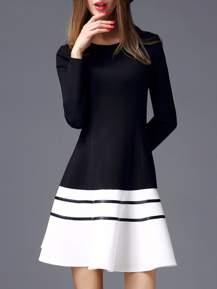 Clothing Manufacturer Small Orders Black Color-block Dress With Mini