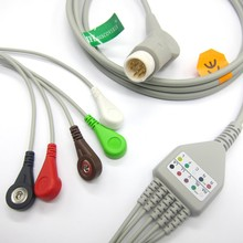 wholesale One-piece ECG cable with 5 leads,SNAP ,MINDRAY T5/T8 ecg cable
