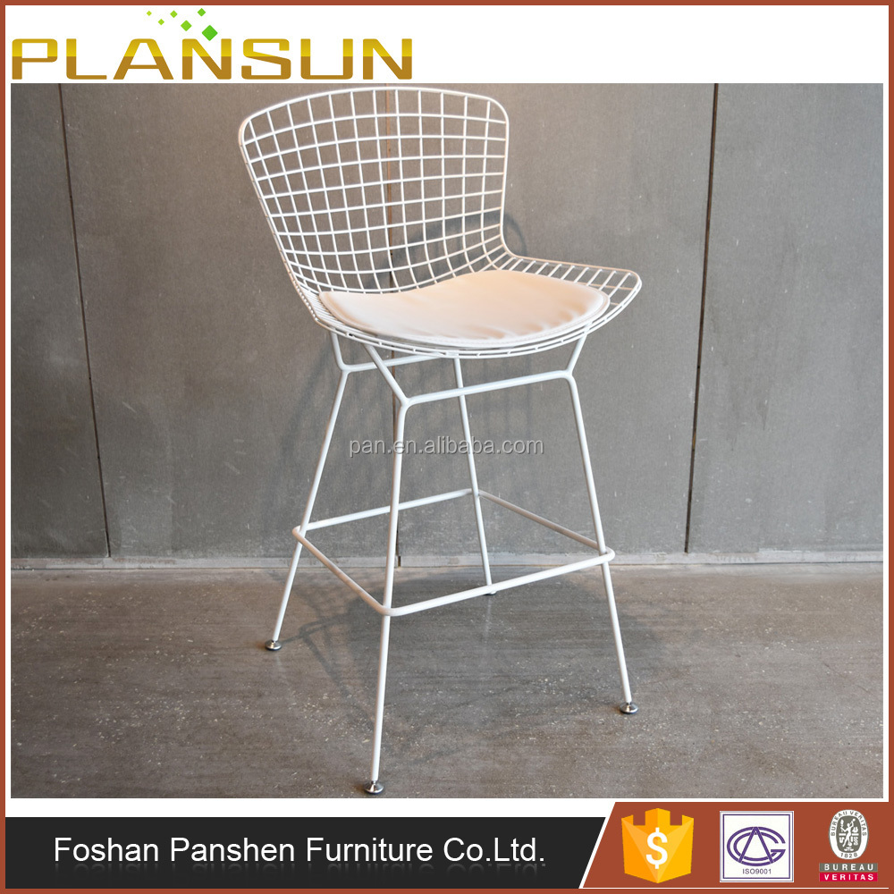 Steel mesh Bertoia Wire Counter Height Stool with replaceable seat cushion