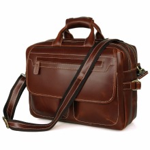 Red Brown Briefcase Popular Hand Bags Real Leather Shoulder Oversize Leather Tote Bags # 7085X