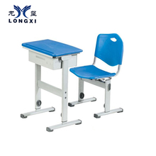 Single desk and chair chairs with tables attached school furniture blue