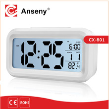 digital transparent lcd alarm clock/ temperature snooze light alarm clock/pretty digital alarm clock