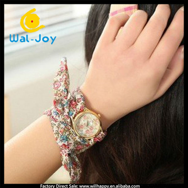 fashion cheap small face fancy ladies watch with floral cloth changeable strap (SW-1244)