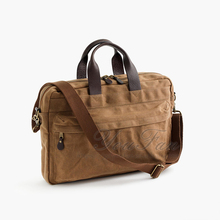 Hot Selling Waxed Cotton Canvas Mens Briefcase
