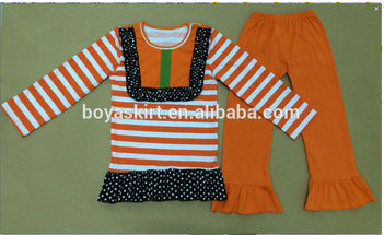 New Traditional stripe Top And orange Pants Ruffle halloween Outfit For Kids Casual Cotton Wholesale Teen Clothing