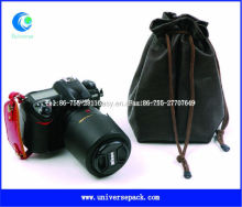 Black pu camera bag with drawstring customized