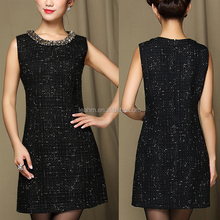2016 latest fashion sleeveless women dress wholesale , cotton new ladies western design summer dresses for middle age women