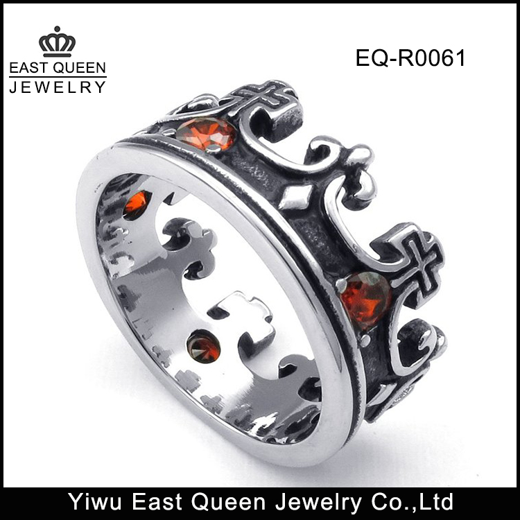 Mens Cubic Zirconia Stainless Steel Vintage Red Black Silver Crown Cross Band Ring