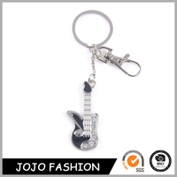 Unique Fashion Personalized Cool Style Metal Guitar Shaped Key Chain For Sale