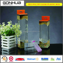 Yiwu supplier 2014 popular soft crease high transparent hang portable PET clear plastic carrier box for cosmetic brush