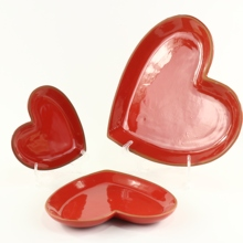 Terracotta Red Color Heart Shape Dessert <strong>Plate</strong>