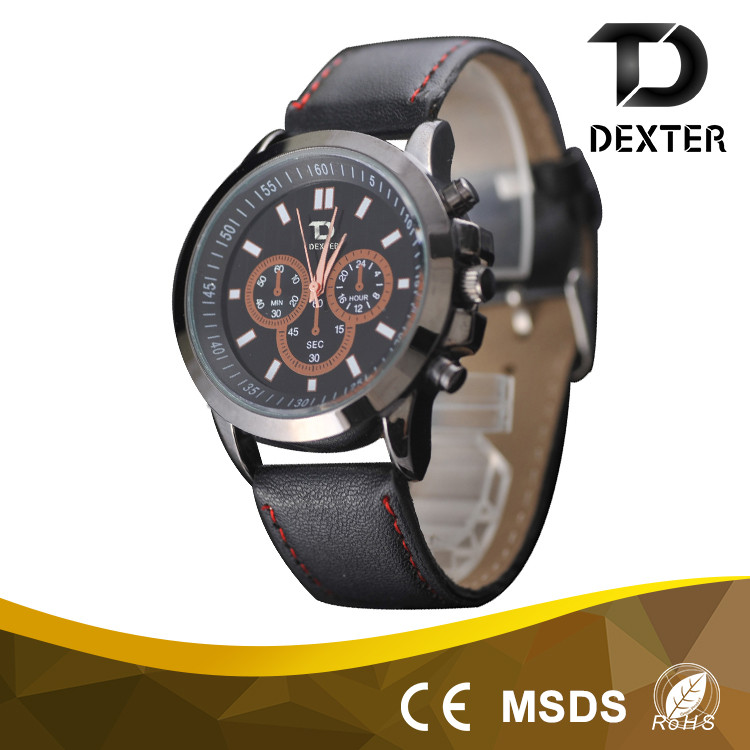 Top quality cheap price made in china business men PU leather strap intrinsically safe watch