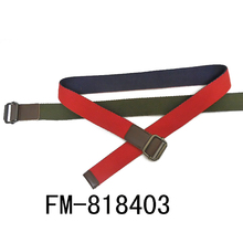 FM brand polyster cotton italian steel buckle manelastic material military red cotton canvas elastic belt man