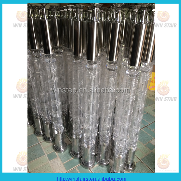 acrylic baluster with stainless steel base plate and top connector