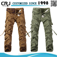 2015 wholesale mens solid color twill cargo six pocket pants