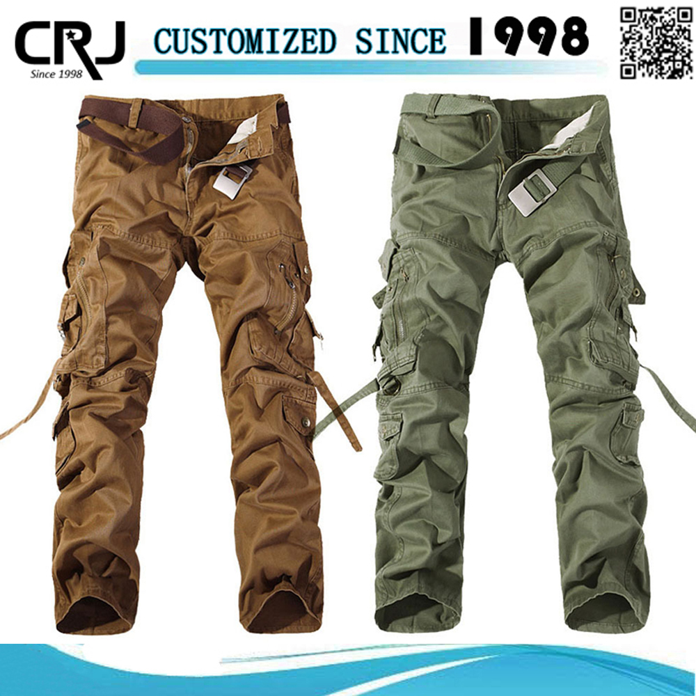 Custom Mens Solid Color Twill Cargo Six Pocket Pants
