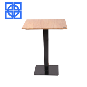 High Quality Modern Design Elm Solid Wood Restaurant Coffee Table Top With Iron Leg