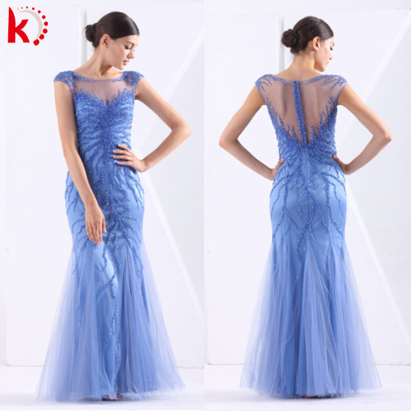 High Quality Sexy Transparent Back Beads Embroidered Elegant Evening Gown Vestidos Longo Para Festa