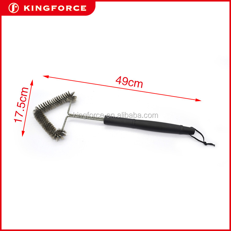 Barbeque Cleaning Scraper Tool BBQ Grill Brush with rubber wood handle KF410049