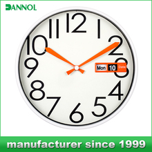 "12"" round shape auto flip calendar wall clock for gifts"