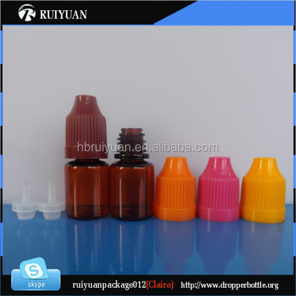 small E-cigarette Oil use amber dropper bottle 3ml 5ml mini 3ml amber pet e liquid bottle with childproof cap