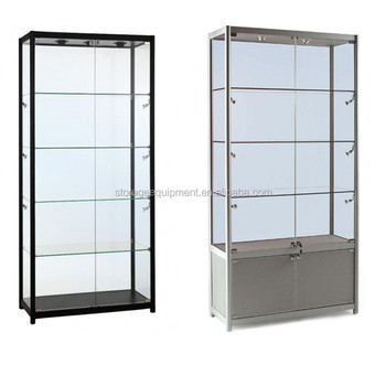 2017 NEW fashion mobile phone display showcase with Glass Shelves
