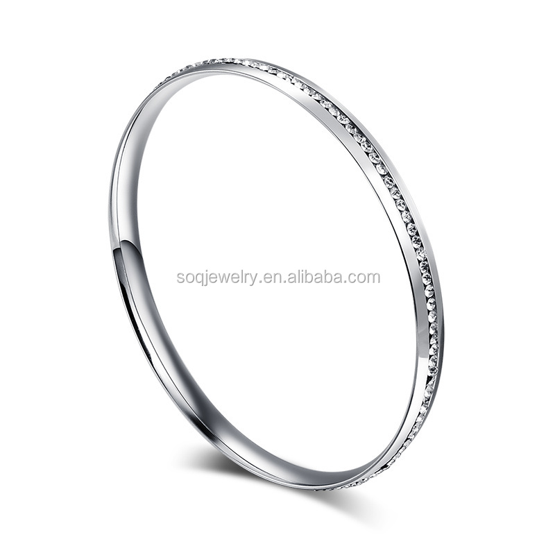 2015 New Arrival Fashion Stainless Steel Women Plain Silver Bangle with Crystal Bead