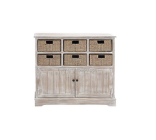 home furniture decor wooden cabinet with wicker basket drawer