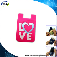 Free sample 3M Sticker Adhesive Card Holder Silicone Phone Wallet