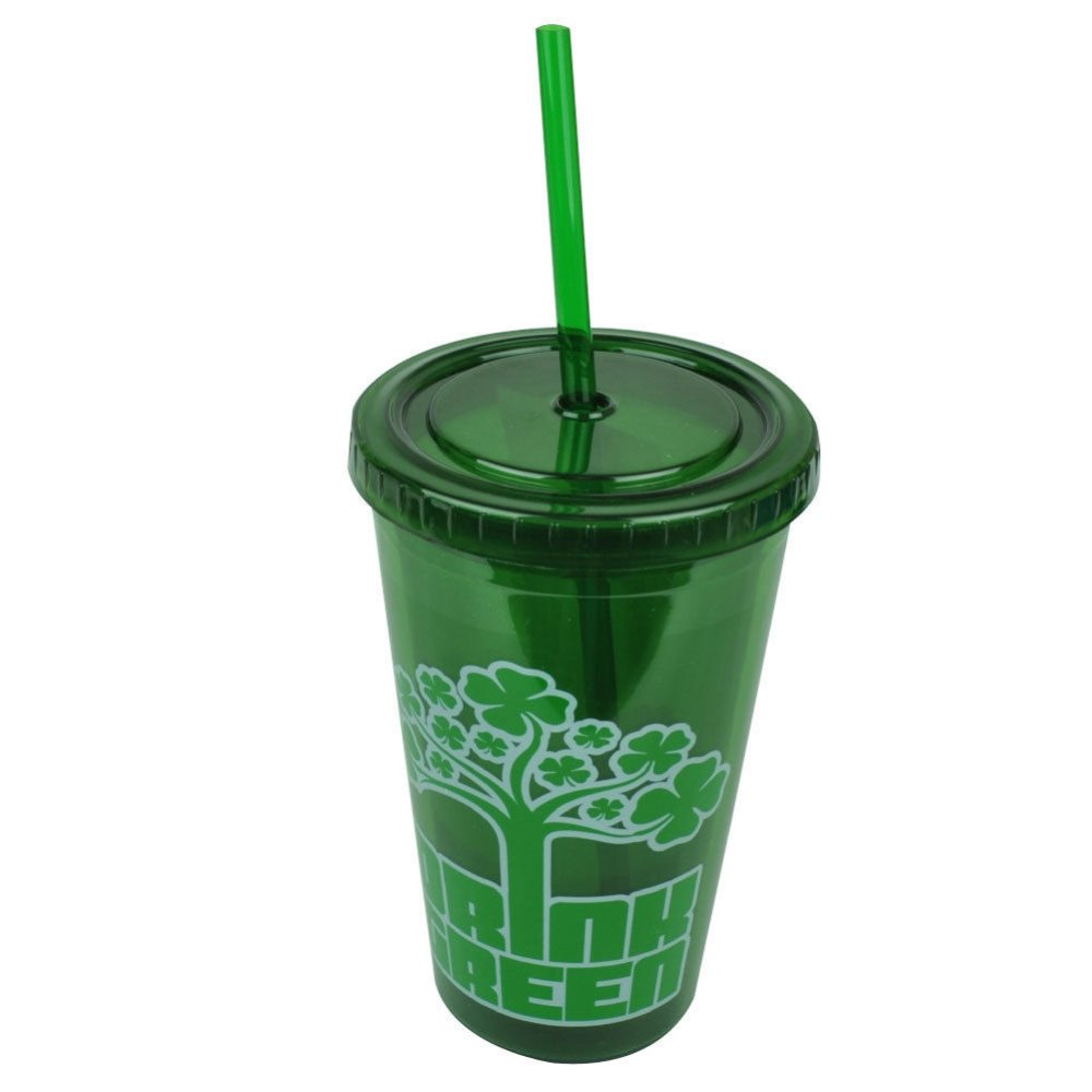 St Saint Patricks Day Drink Green Lucky Tumbler Cup Straw 16oz Water Plastic Straw Cup for St Patrick