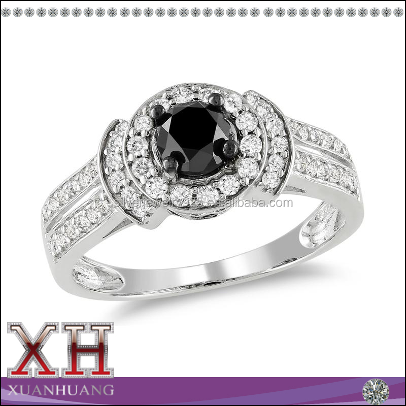 Wholesale fashion white gold plated engagement rings with zircon