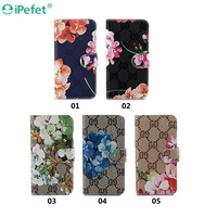 Premium Magnetic Flower Flip Cover PU Leather Wallet Cell Phone Case For iPhone 6s
